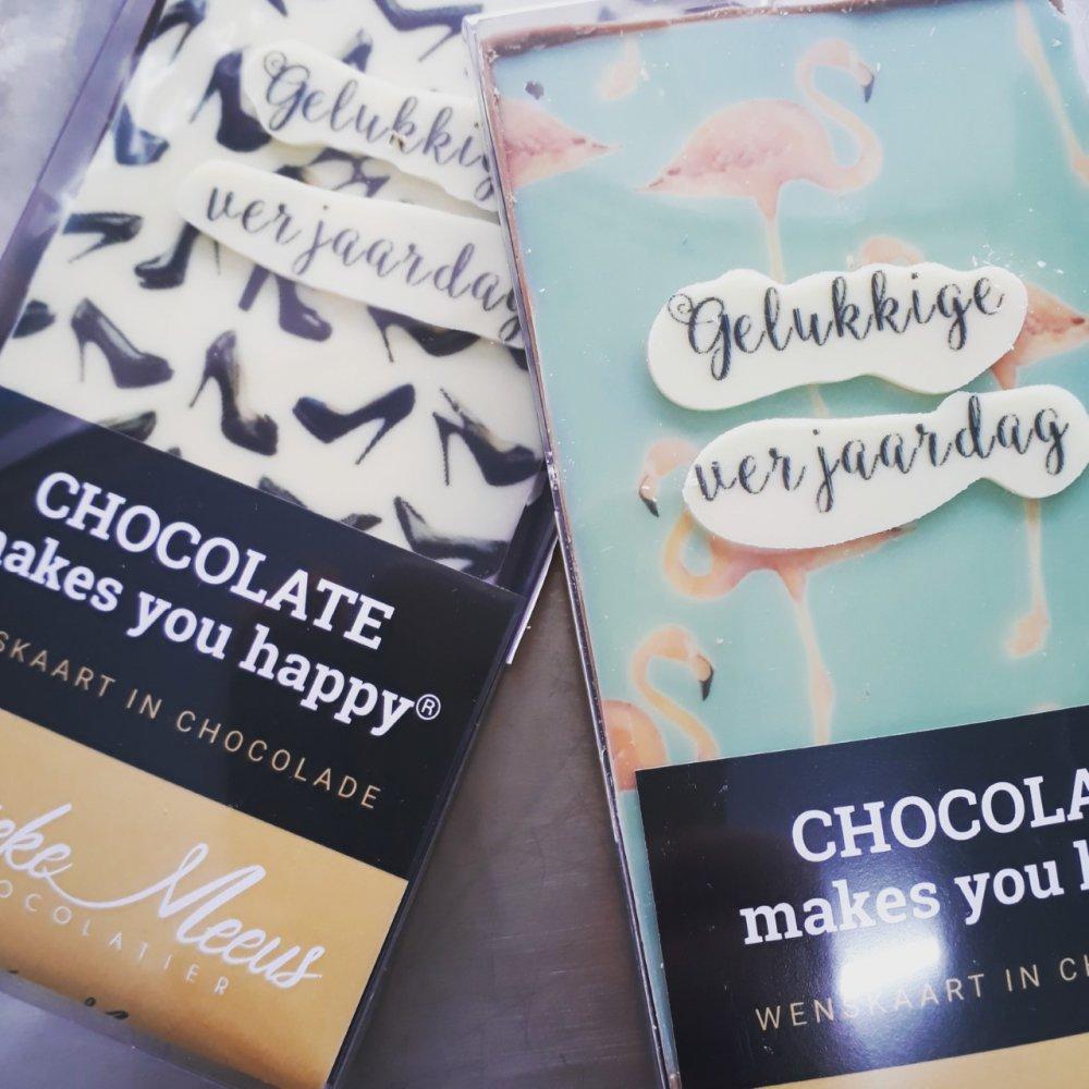 Chcocoladewenskaarten  hebben wij ruim in assortiment, maar toch liever een andere tekst of afbeelding, geen probleem dat maken wij op maat.